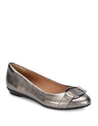 Sofft Benton Metallic Leather Flats Anthracite