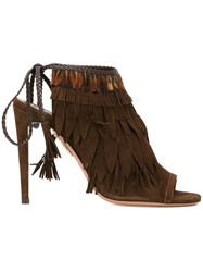 Aquazzura Fringed Sandals Brown