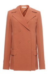 Nina Ricci Double Breasted Wool Blazer Tan