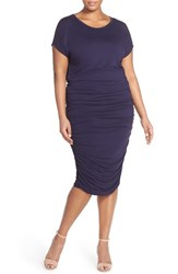 Plus Size Women's Vince Camuto Side Ruched Midi Dress Nordstrom Exclusive