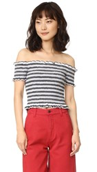 Shakuhachi Stripe Smocked Crop Top White Black