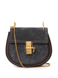 Chloe Drew Small Suede And Leather Cross Body Bag Dark Blue