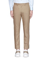 Valentino Tuxedo Stripe Cotton Cavalry Twill Pants Brown