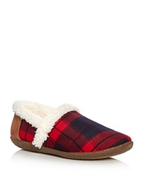 Toms Plaid Faux Fur Slippers Red