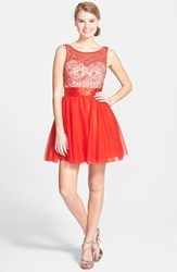 Women's Sean Collection Beaded Bodice Fit And Flare Dress Red