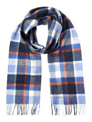 Barbour Cashmere Blend Country Plaid Scarf Blue