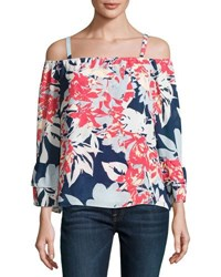 Parker Dipsy Printed Off The Shoulder Blouse Black Pattern