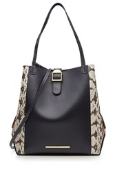 Roland Mouret Leather And Snakeskin Tote Multicolor