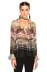 Etro Oversized Blouse In Stripes Floral Pink Stripes Floral Pink