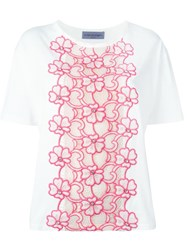 Emanuel Ungaro Flower Embroidered Top White