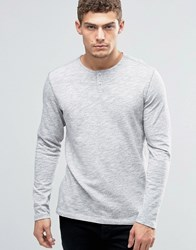 Jack And Jones Longsleeve Grandad T Shirt Grey
