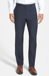 Men's Hugo 'Hamen' Flat Front Wool Trousers Dark Blue