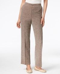 Alfred Dunner Santa Fe Collection Pull On Checkered Pants Chocolate