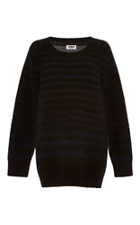 Sonia Rykiel By Chunky Stripes Wool Blend And Mohair Sweater Navy