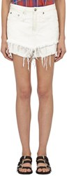 R 13 R13 Layered Cut Off Jeans Shorts White