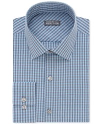 Kenneth Cole Reaction Men's Slim Fit Pool Blue Checked Dress Shirt