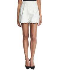 Kendall Kylie High Waist Scallop Hem Shorts Bright White Black Women's