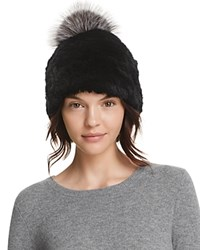 Surell Rabbit Fur Beanie With Pom Pom 100 Bloomingdale's Exclusive Black