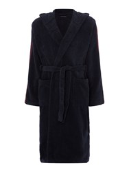 Emporio Armani Men's Arm Logo Hooded Robe Navy
