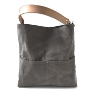 Independent Reign Waxed Canvas Bucket Tote Stone Gray