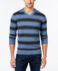 Tommy Hilfiger Men's Striped V Neck Sweater Fleet Blue Charcoal Grey Heather