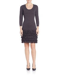 Calvin Klein Long Sleeve Fringe Dress Charcoal