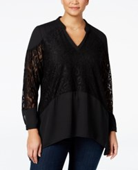 Ny Collection Plus Size Lace Inset Blouse Night Empress