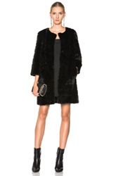 Yves Salomon Long Mink Coat In Black