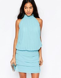 Traffic People Chiffon Bold Sweet Charity Dress With Halterneck Blue