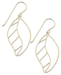 Macy's 14K Gold Earrings Filigree Leaf Drop Earrings