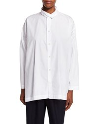Eskandar A Line Double Collar Shirt White