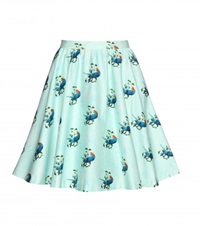 Alice Olivia Earla Printed Cotton Skirt Green