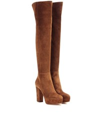 Gianvito Rossi Temple Suede Over The Knee Platform Boots Brown