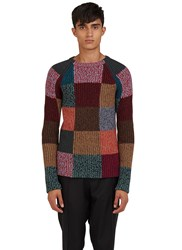 Valentino Patchwork Knit Crew Neck Sweater Red