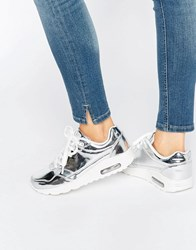 Missguided Metallic Trainer Silver