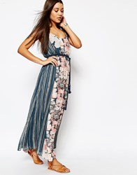 Abercrombie And Fitch Chiffon Maxi Dress With Rope Belt Floral Print Multi