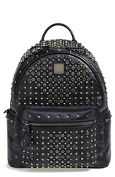 Mcm 'Studded Small' Coated Canvas Backpack Black