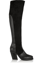 Purified Patsy 7 Leather And Suede Knee Boots Black