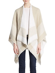Calvin Klein Plaid Fringe Shawl Almond