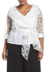 Alex Evenings Plus Size Women's Sheer Sleeve Organza Tie Waist Blouse