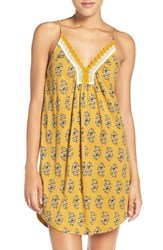 Lucky Brand Women's Crochet Trim Chemise Yellow Floral