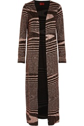 Missoni Sequin Embellished Striped Stretch Knit Cardigan Brown