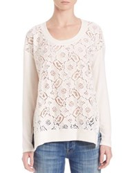 Red Haute Lace Front Sweater Natural