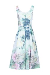 Jolie Moi Retro Floral Textured Prom Dress Green