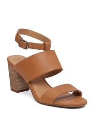 Lucky Brand Jodalee Stacked Heel Leather Sandals Brown