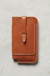 Anthropologie Stitched Leather Iphone Case Brown