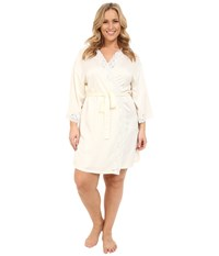 Lauren Ralph Lauren Plus Size Satin Wrap Robe Ivory Women's Robe White