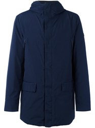 Armani Jeans Padded Hooded Zipped Coat Blue