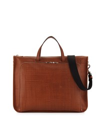 Wide Textured Calfskin Briefcase Tan Loewe