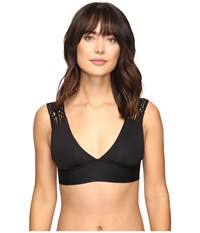 Becca Electric Current Over The Shoulder Top Black Women's Swimwear